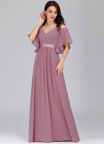front_EVER-PRETTY Cold Shoulder Flutter Sleeve Maxi Formal Dress