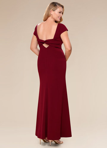 front_Blush Mark Plus Size Pure Beauty  Stretch Crepe Maxi Dress