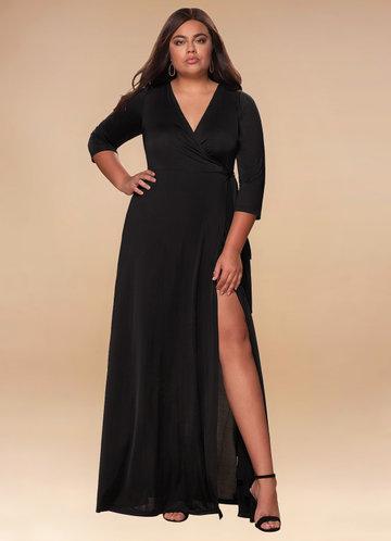 Sway Black Wrap Maxi Dress