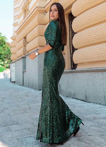 back_EVER-PRETTY Surplice Neck Split Thigh Sequin Dress