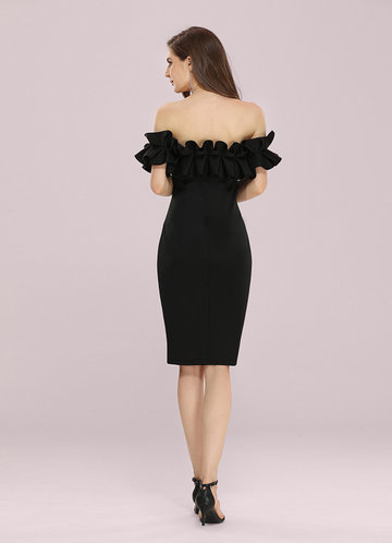 back_EVER-PRETTY Off Shoulder Ruffle Trim Fitted Dress