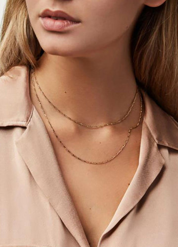 front_Simple Elegance Double Chain Necklace