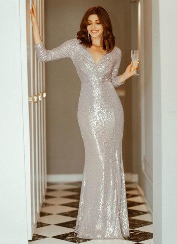 front_EVER-PRETTY Surplice Neck Split Thigh Sequin Dress