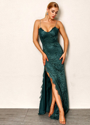 front_Joyfunear High Split Open Back Bodice Lace Overlay Dress