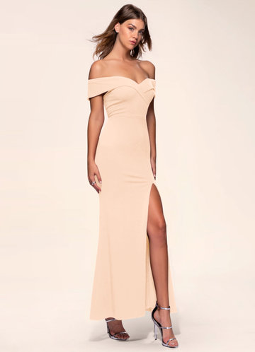 front_Blush Mark My Valentine {Color} Stretch Crepe Maxi Dress