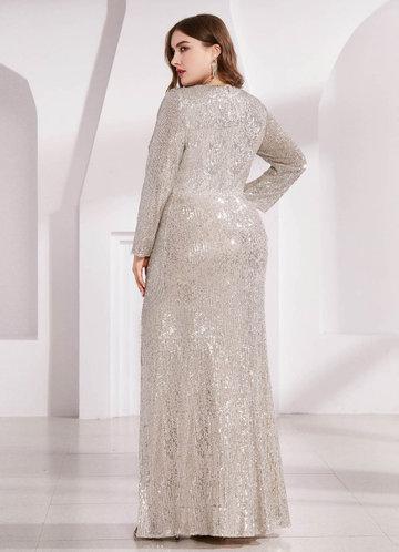 back_AZ V Neck Plus Size Long Sleeve Sequin Prom Dress
