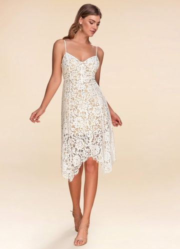 Shopping Spree White Lace Midi Dress