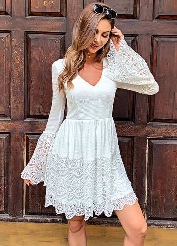 front_Missord Lace Up Knot Bell Sleeve Waffle Knit Lace Dress