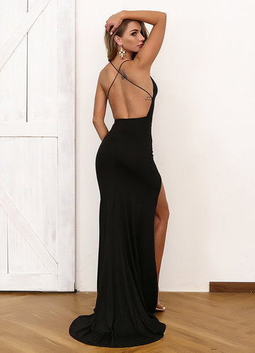 back_Joyfunear Crisscross Open Back High Split Halter Dress