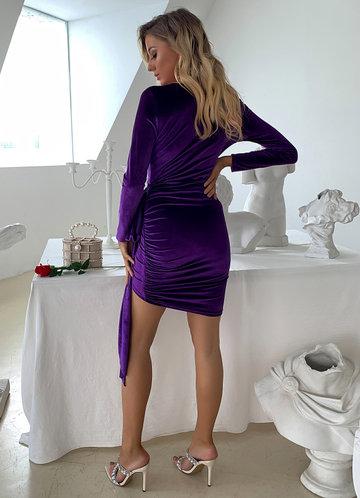 back_Joyfunear Plunge Neck Ruched Draped Velvet Dress