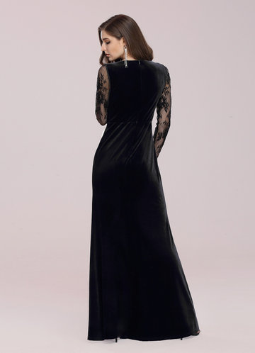 back_EVER-PRETTY Sheer Lace Sleeve Ruched Split Thigh Velvet Prom Dress