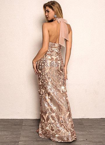 back_Joyfunear Split Hem Backless Halter Sequin Maxi Dress