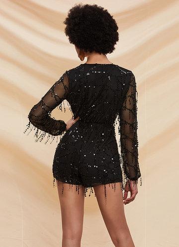 back_Missord Sheer Sleeve Sequin Mesh Romper