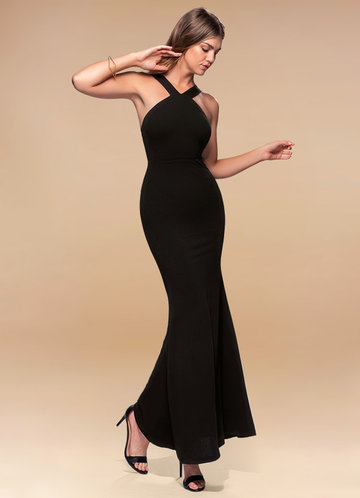 Darling Black Stretch Crepe Maxi Dress