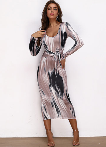 front_Joyfunear Brush Stroke Print Tie Waist Bodycon Dress