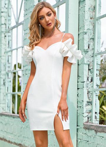 front_EVER-PRETTY Cold Shoulder Ruffle Trim Split Dress