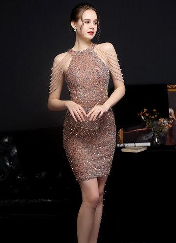front_Kalinnu Shoulder Bead Trim Mini Sequin Dress