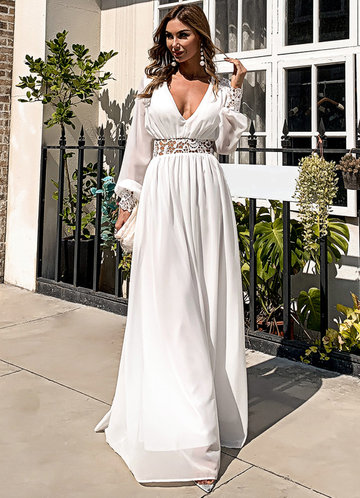 front_Missord Plunging Neck Guipure Lace Insert Chiffon Prom Dress