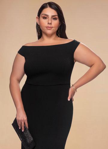 Cherish Black Stretch Crepe Maxi Dress