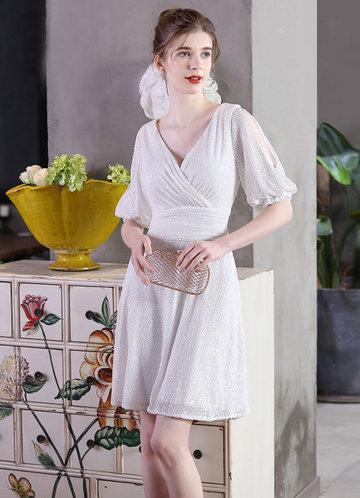 front_Kalinnu V-neck Mini Sequin Dress