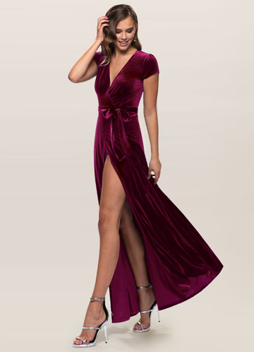 Blush Mark Dreaming Of You Cabernet Velvet Maxi Dress