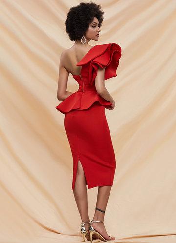 back_Missord Exaggerated Ruffle One Shoulder Peplum Pencil Dress