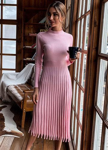 front_Missord Fringe Hem Rib-knit Sweater Dress