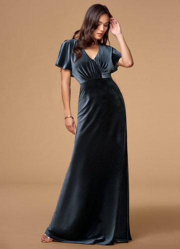 Endless Ocean French Blue Velvet Maxi Dress