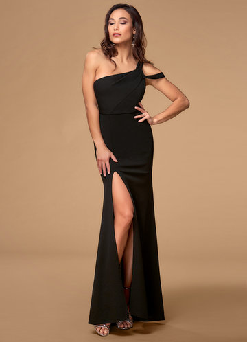 Vegas Black Stretch Crepe Maxi Dress