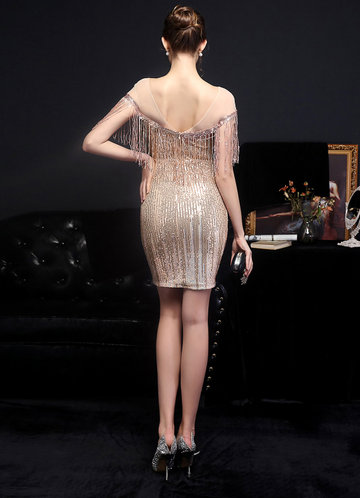 back_Kalinnu Round Neck Mini Sequin Dress