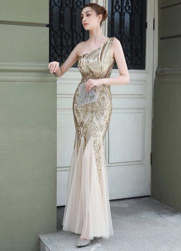 front_Kalinnu One Shoulder Sequined Maxi Mesh Dress
