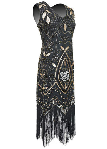 back_Blush Mark 1920s Vintage Flapper Fringe Beaded Great Gatsby Party Dress
