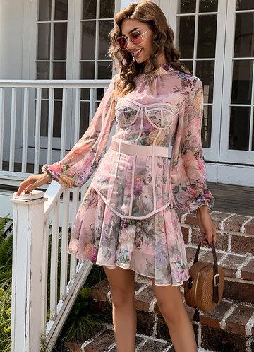 front_Missord Lantern Sleeve Mesh Panel Floral Dress