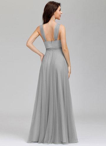 back_EVER-PRETTY Surplice Neck Tied Empire Waist Mesh Dress