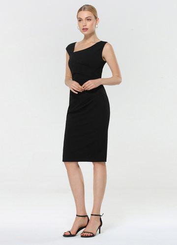 front_EVER-PRETTY Asymmetrical Neck Split Hem Dress
