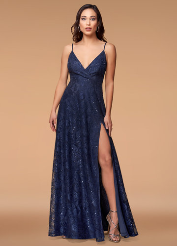 Anywhere With You Navy Blue Sequin lace Maxi Dress