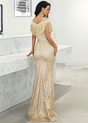 back_Missord Mesh Insert Fringe Trim Sequin Maxi Dress