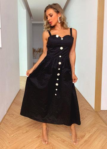 front_Joyfunear Button Front Pocket Cami Dress