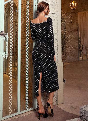 back_Missord Sweetheart Neck Polka Dot Bodycon Dress