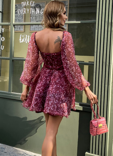 back_Missord Sweetheart Neck Lantern Sleeve Ditsy Floral Embroidery Mesh Dress