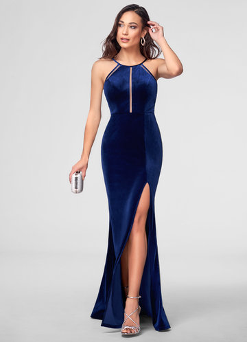 A La Mode Navy Blue Velvet Maxi Dress
