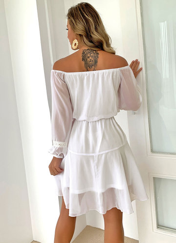 back_Joyfunear Off Shoulder Lantern Sleeve Belted Dress