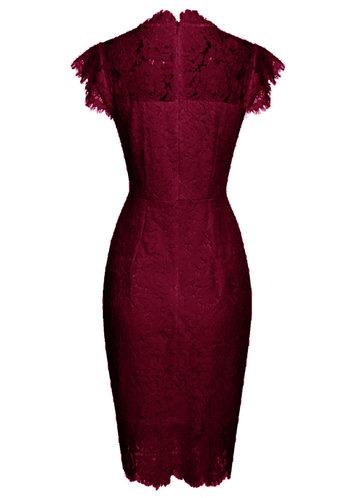 back_Caidienu Knee Length Lace Dress