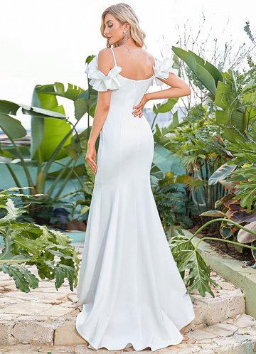 back_EVER-PRETTY Ruffle Trim Cold Shoulder Mermaid Hem Dress