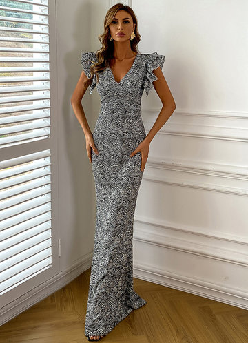 front_Missord Allover Print Ruffle Sleeve Dress