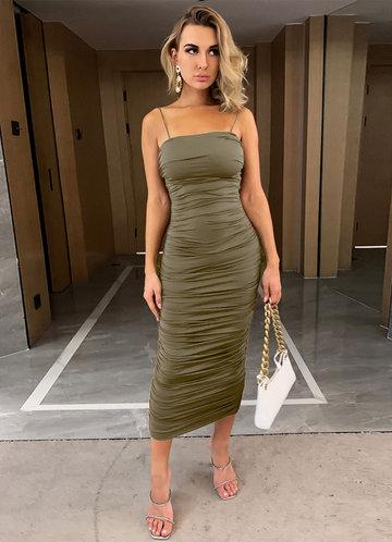 front_Joyfunear Solid Ruched Dress