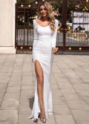 front_Missord Scoop Neck Split Thigh Sequin Prom Dress