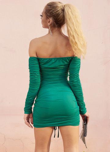 back_Joyfunear Off Shoulder Drawstring Ruched Bodycon Dress