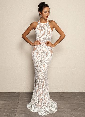 front_Joyfunear Tie Back Chain Detail Fishtail Hem Sequin Dress