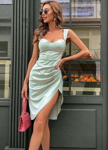 front_Missord Wrap Hem Satin Bustier Dress